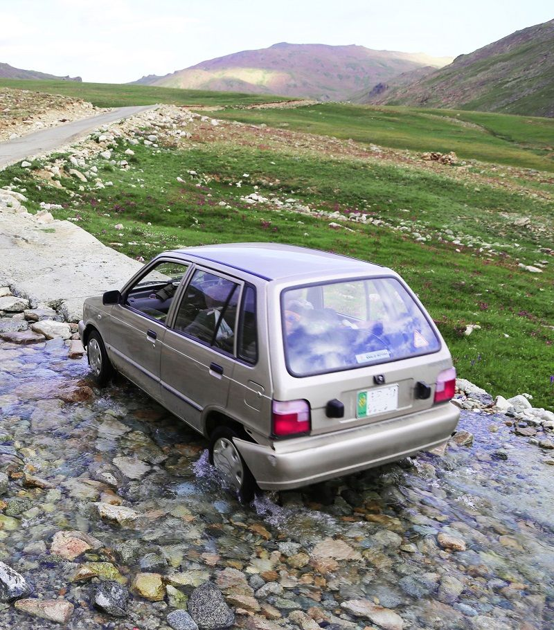Crossing the Stream on Road