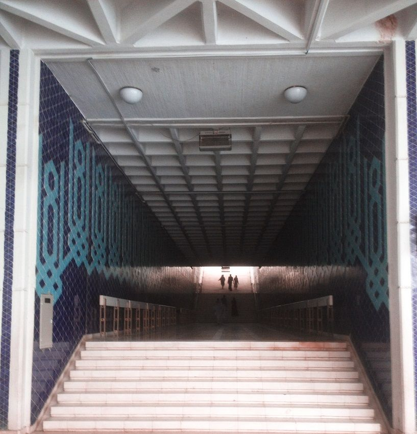 Stairs lead to Faisal Mosque Courtyard