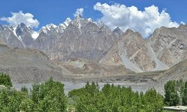 Green Oasis in front of Passu Cones