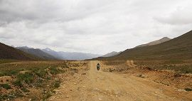 Travelling by Bike in Deosai Plains